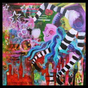 Painting Heather Carr Art city woman lady backbend stripes