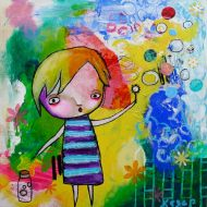 Heather Carr painting 2012 art mixed media colorful summer child blowing bubbles