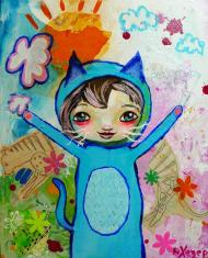Heather Carr painting 2012 art mixed media cat girl costume blue