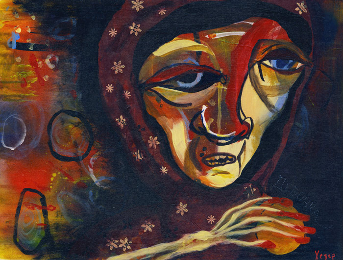 Painting Heather Carr art mixed media baba yaga old woman