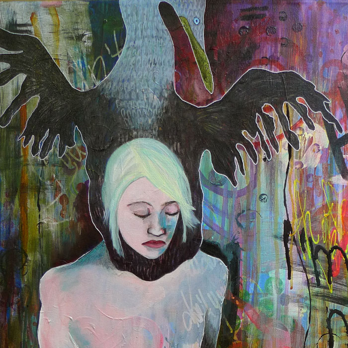 Heather Carr art painting nude woman flightless cormorant mixed media