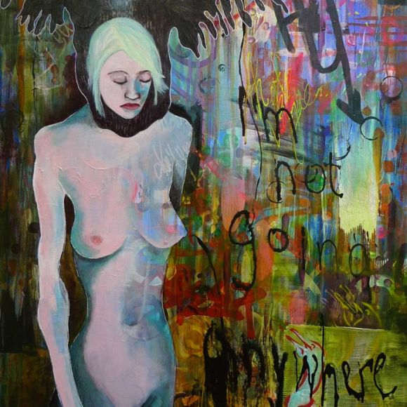 Heather Carr art painting acrylic nude woman flightless cormorant mixed media