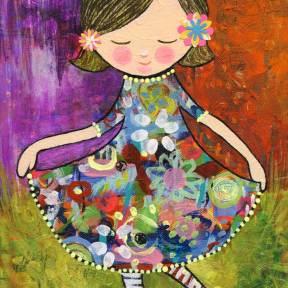 Painting Heather Carr Art girl flowers dress