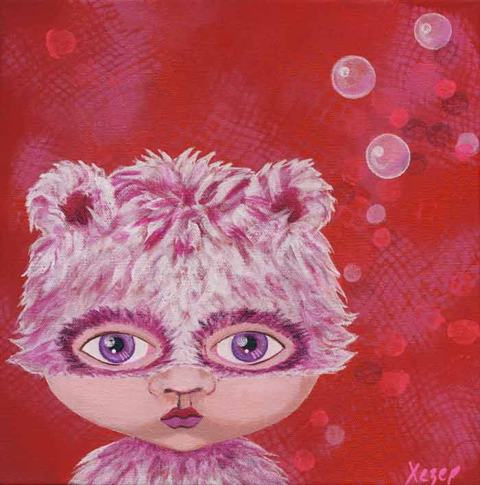 Painting Heather Carr art furry hat girl cute child red purple bubbles