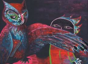 Painting Heather Carr art owl spy mixed media