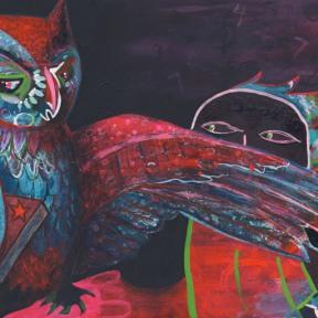 Painting Heather Carr art owl spy mixed media