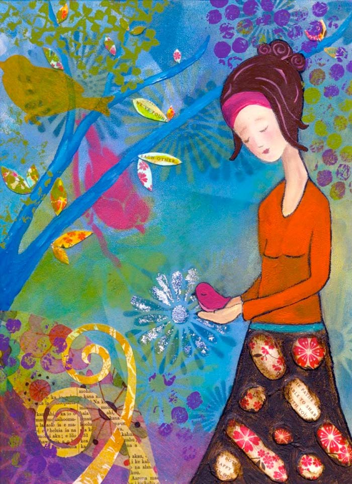 Painting Heather Carr art lady woman bird mixed media