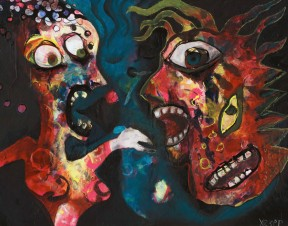 Painting Heather Carr art angry scared teeth yelling people