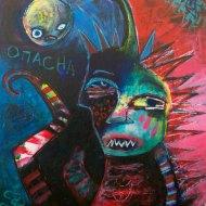 Heather Carr 2012 art painting mixed media evil angler spiky