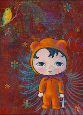 Painting Heather Carr art mixed media child bear suit hat hood orange cute sweet