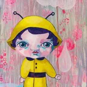 Painting Heather Carr art cute girl bumblebee rain raincoat yellow pink clouds