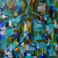 Heather Carr painting 2012 art abstract tree roots blue