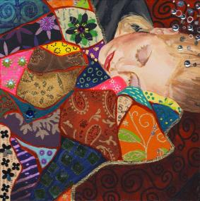 Painting Heather Carr art mixed media sleeping dreaming girl woman