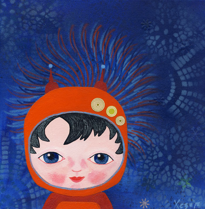 Painting Heather Carr art space cadet boy astronaut spacesuit cute child blue orange