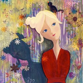 Painting Heather Carr art lady bird shadow flowers