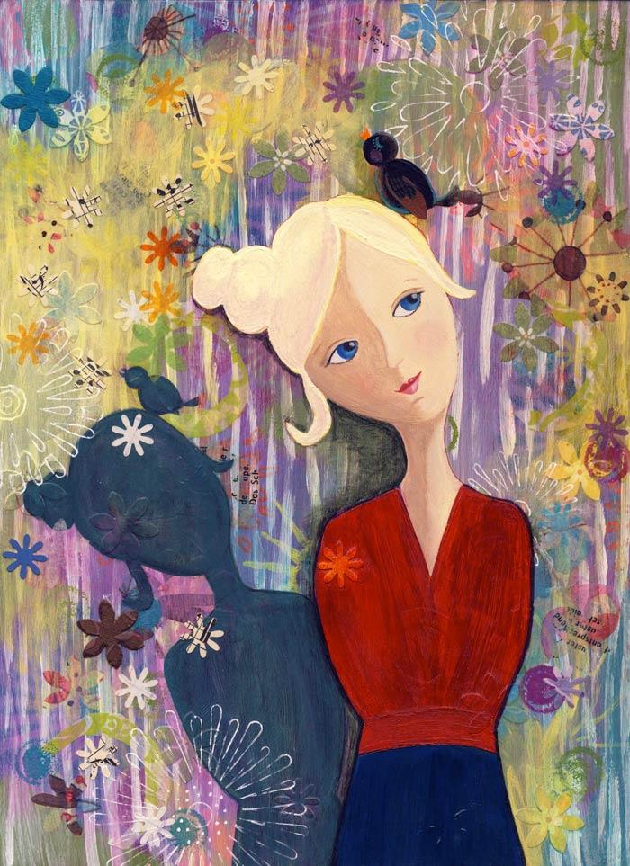 Painting Heather Carr art lady bird shadow flowers