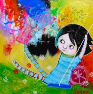 Heather Carr painting 2012 art mixed media girl swing summer