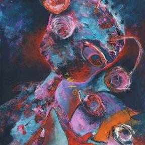 Painting Heather Carr art aliens children quiet