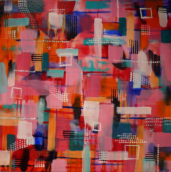 Heather Carr painting 2012 art abstract pink blue squares