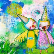 Heather Carr painting 2012 art mixed media bids happy laughing