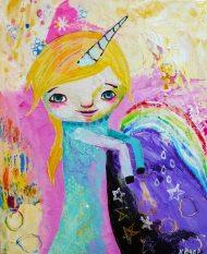 Heather Carr painting 2012 art girl unicorn cute mixed media