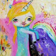 Heather Carr painting 2012 art girl unicorn cute mixed media