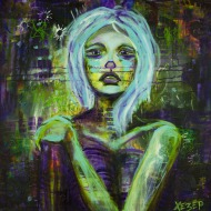 Heather Carr art painting acrylic nude woman skeletal anorexic sad depression