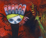 Heather Carr 2012 art painting mixed media boy feathers winged evil sneaking lurking