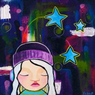Heather Carr 2012 painting art girl headphones listening music