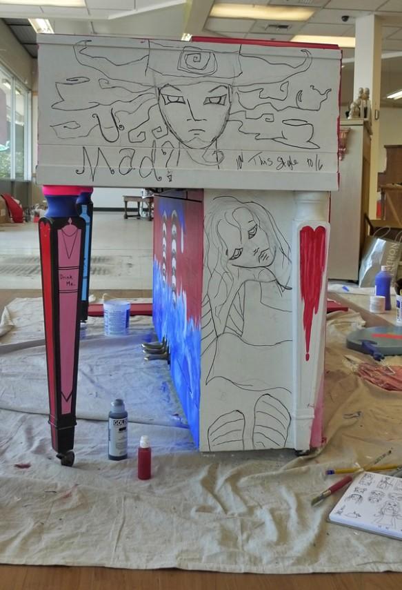 Heather Carr Xe3ep Xezep Alice in Wonderland Mad Hatter street art piano