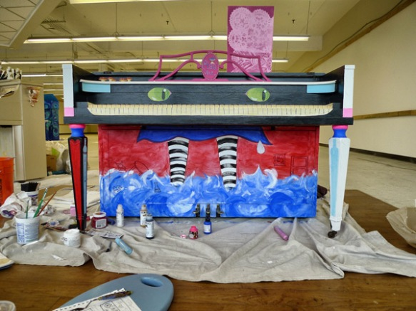 Heather Carr Xe3ep Xezep alice in wonderland piano work in progress painting  street art