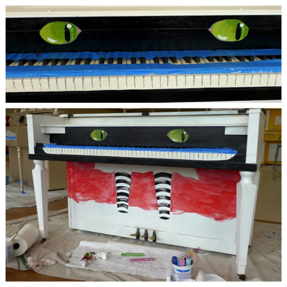 Heather Carr Xe3ep Xezep street art piano shoreline work in progress alice in wonderland cheshire cat eyes grin