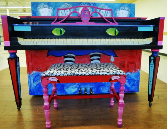 Heather Carr piano painting wonderland street art