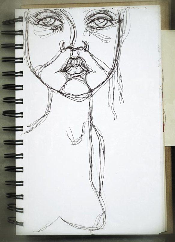 Heather Carr sketch sketchbook pen woman doodle