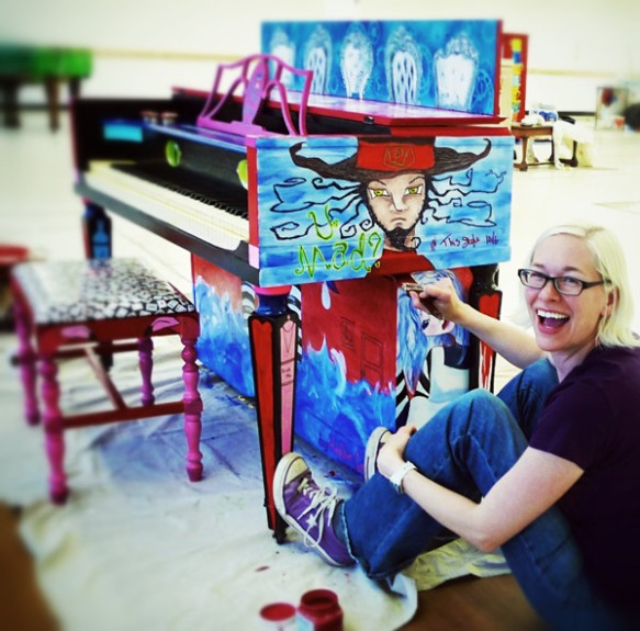 Heather Carr Alice in Wonderland street art piano mad hatter painting