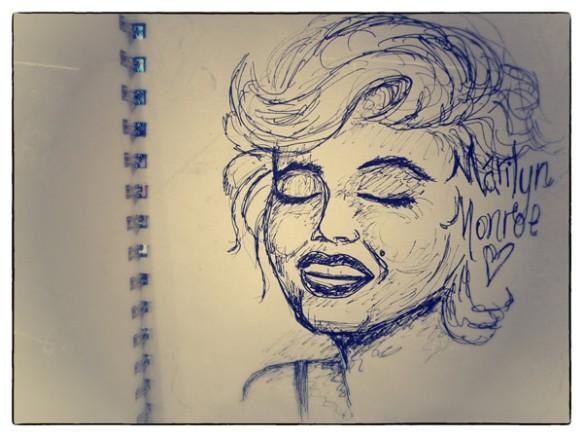 Heather Carr pen sketch doodle Marilyn Monroe