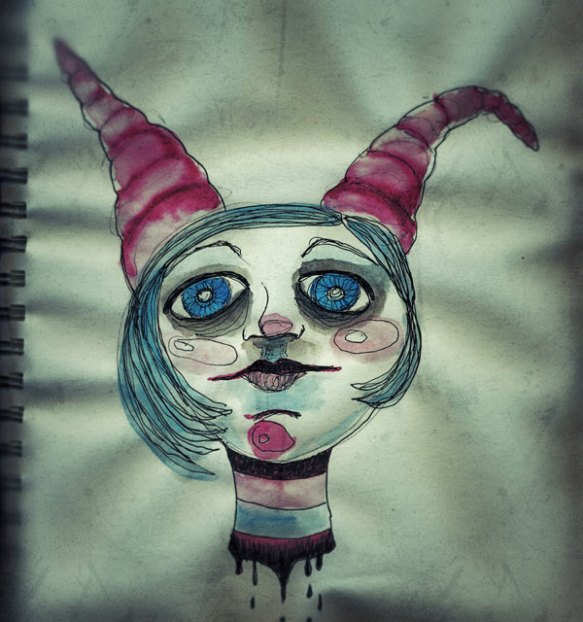 Heather Carr sketch drawing doodle illustration joker jester doll head girl severed pen watercolor