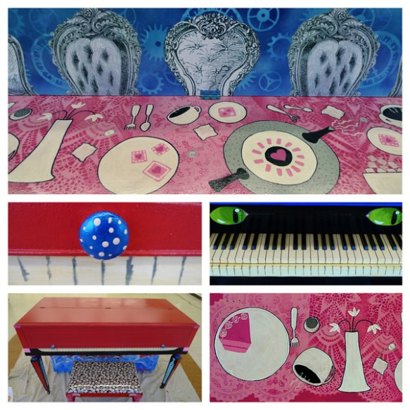 Heather Carr Alice in Wonderland street art piano Shoreline painting tea party