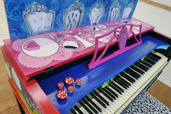 Heather Carr Alice in Wonderland tea party piano street art painting