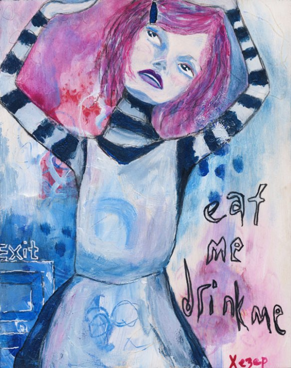 Heather Carr painting Alice in Wonderland eat me drink me 10 feet tall