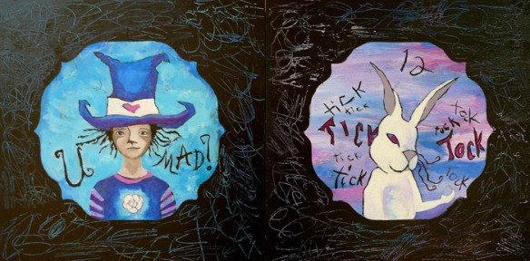 Heather Carr Alice in Wonderland painting Mad Hatter White Rabbit