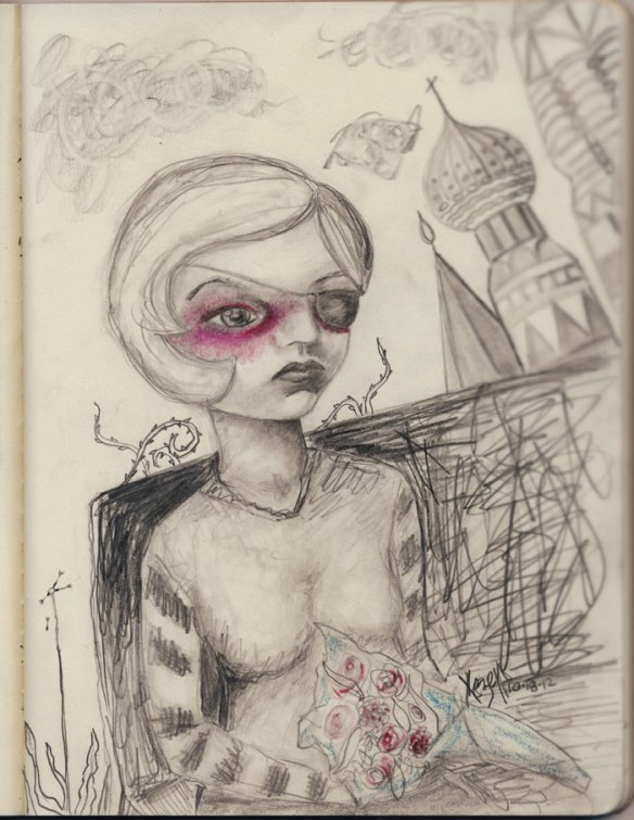 Heather Carr Xe3ep pencil sketch Moscow Moskva woman sad eye patch kremlin drawing