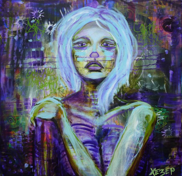 Heather Carr acrylic painting girl woman skeleton skeletal sad