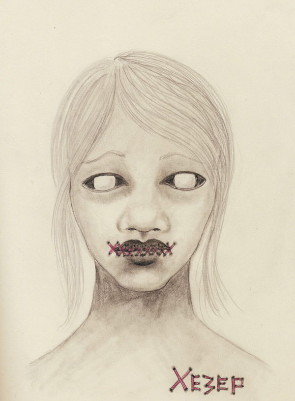 Sketch Heather Carr pencil woman face stitches creepy scary eyes XE3EP Xezep