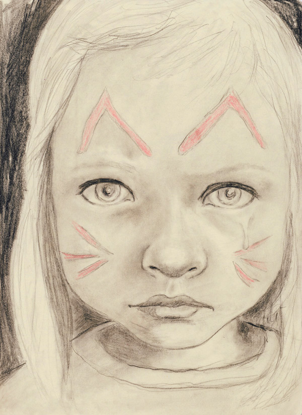 Heather Carr pencil sketch sad little girl face painted kitty cat