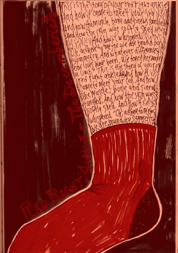Red Right Ankle-The Decemberists drawing leg sock Heather Carr