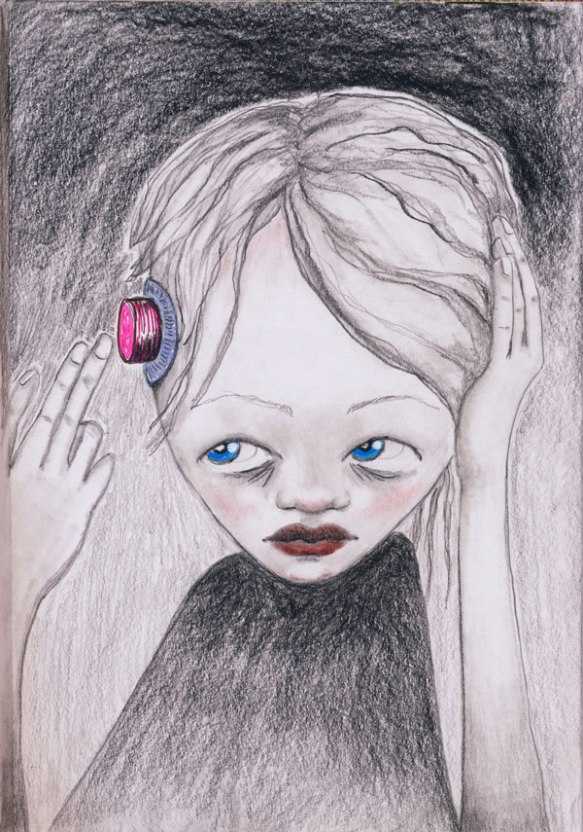 Heather Carr XE3EP Xezep pencil sketch red button self-destruct girl creepy