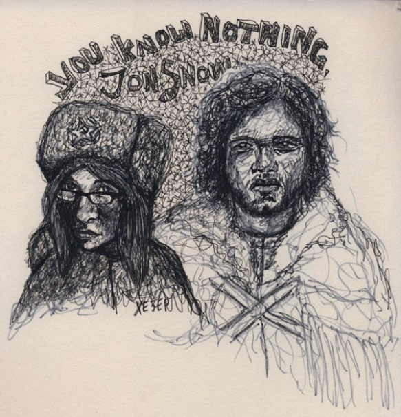 Heather Carr sketch pen Jon Snow Kit Harington Xezep Xe3ep Game of Thrones Russian Hat Girl Glasses