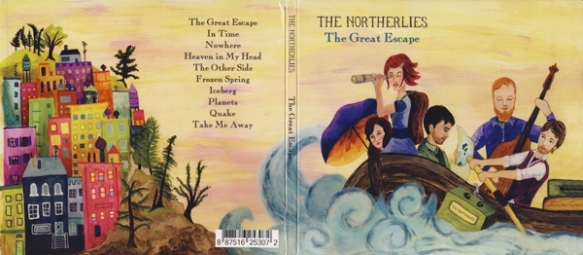 album cover art the northerlies great escape heather carr boat waves adventure island colorful houses