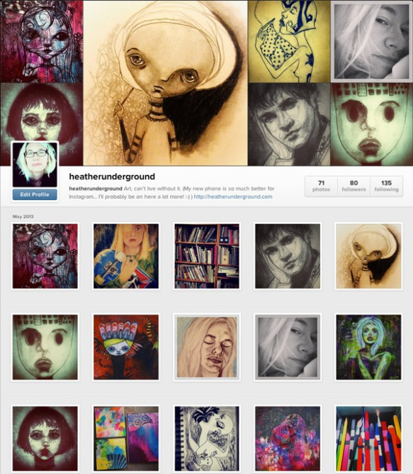 heatherunderground heather underground carr artist art instagram sketches doodles paintings selfie